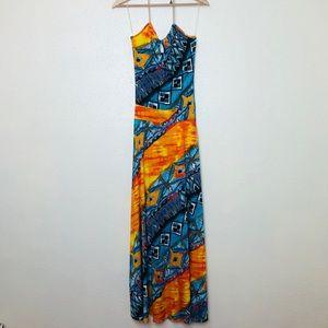Maria & Kyndal's Printed Chain Halter Maxi Dress